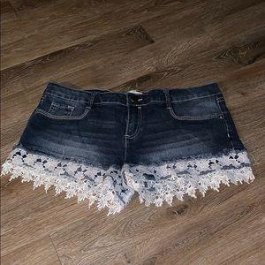 Pants - Denim  Shorts with Ruffles